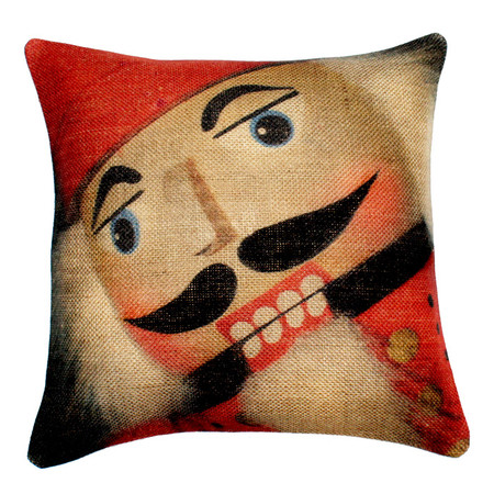 Nutcracker Design 18 x 18 Burlap Pillow Cover