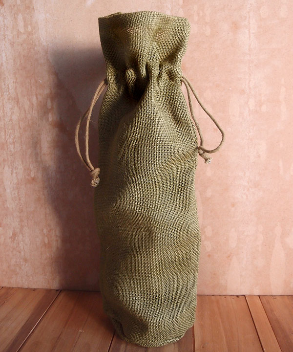 "Burlap Wine Bag W/ Drawstring in Olive Green - 6"" x 15"" x 3.5"""