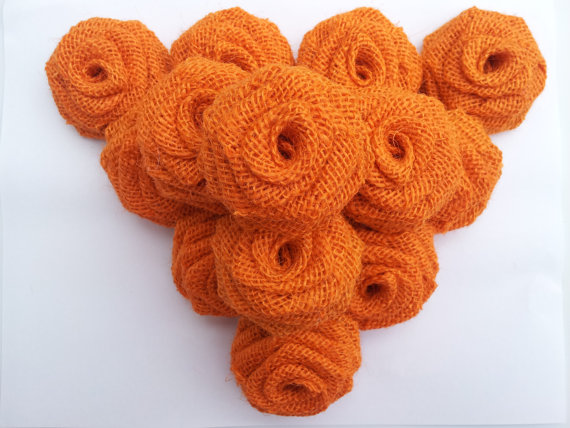 Burlap Flowers (Dozen) Orange