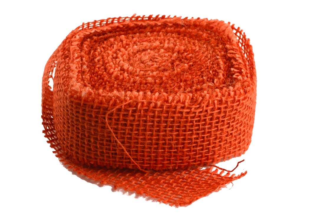 "Orange Burlap Ribbon - 1.5"" x 10 Yards (Frayed Edges)"
