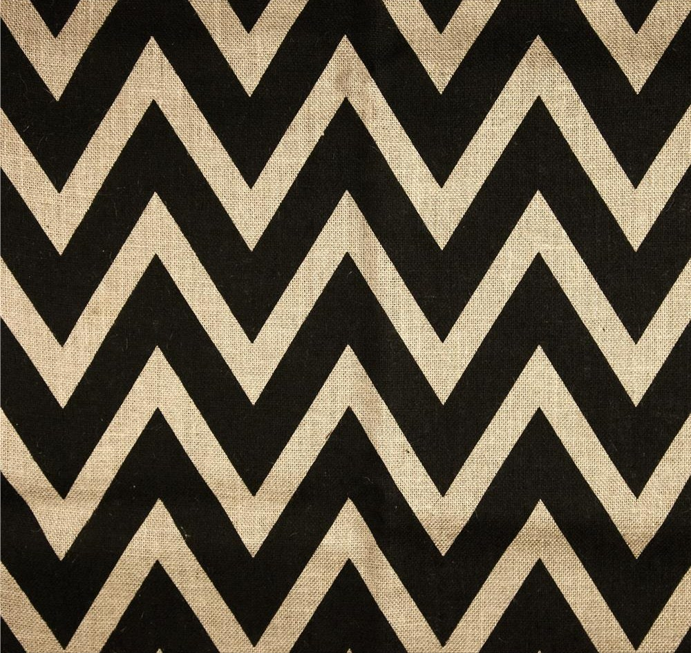 "Chevron Burlap 60""-By the yard- Oyster/Black"