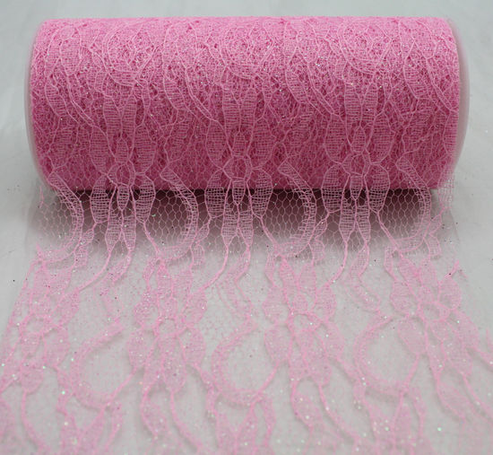 "6"" Pink Sparkle Lace- 10 Yard Ribbon"