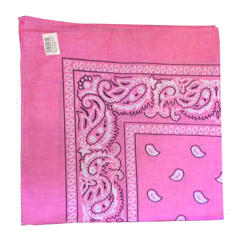 "Paisley Bandana (100% Cotton) -Pink 22"" x 22"" 12 Pack"