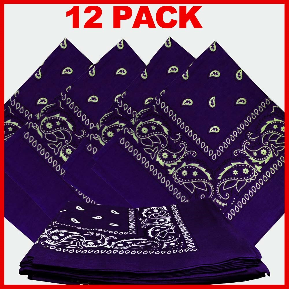 "Paisley Bandana (100% Cotton) -Purple 22"" x 22"" 12 Pack"