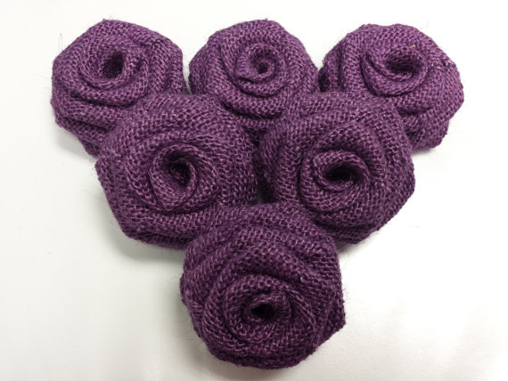 Burlap Flowers (Dozen) Purple