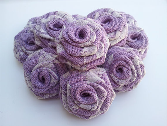 Burlap Flowers with Lace -Purple (1 Dozen)