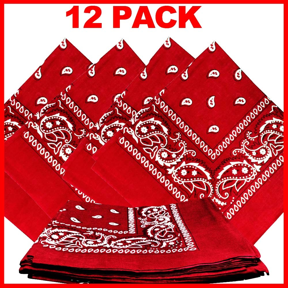 "Paisley Bandana (100% Cotton) -Red 22"" x 22"" 12 Pack"