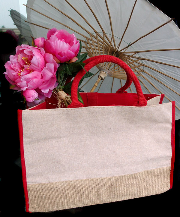 "Cotton and Jute Tote Bag w/Red Accents - 17.5"" x 11.5"" x 8.5"""