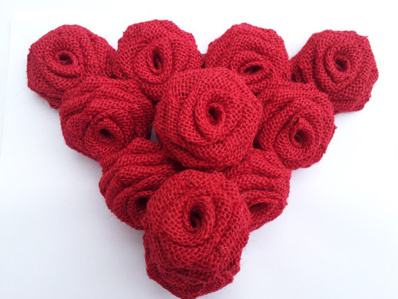 Burlap Flowers (Dozen) Red