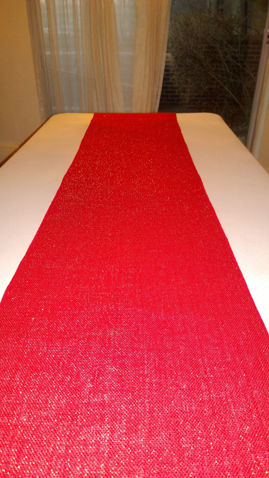 "Red Sparkle Colored Burlap Table Runner - 14"" x 72"""