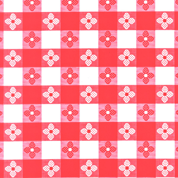 "Red Tavern Check OilCloth (Without Felt Back) - 54"" x 40 Yard"