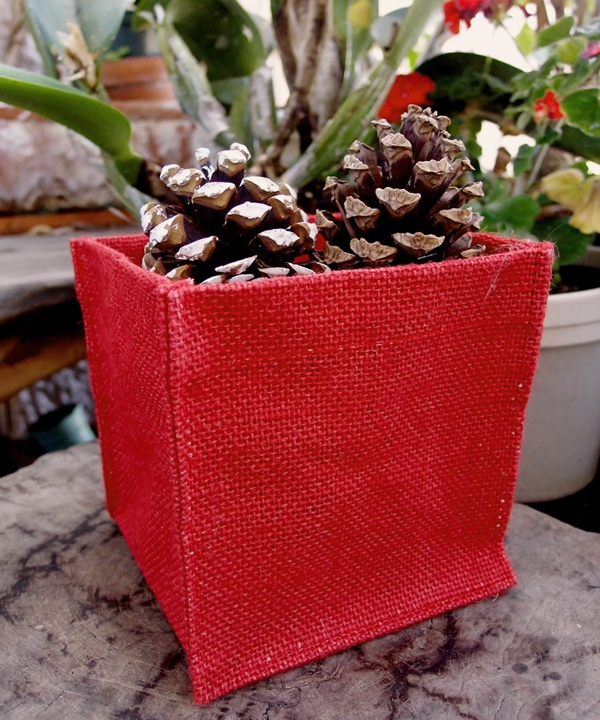 Burlap Vase Holder - 5X5X5 Red (1 Dozen)