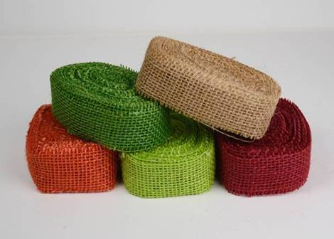 "Colored Burlap Ribbons - 1.5"" x 10 Yards (Mix of 5)"