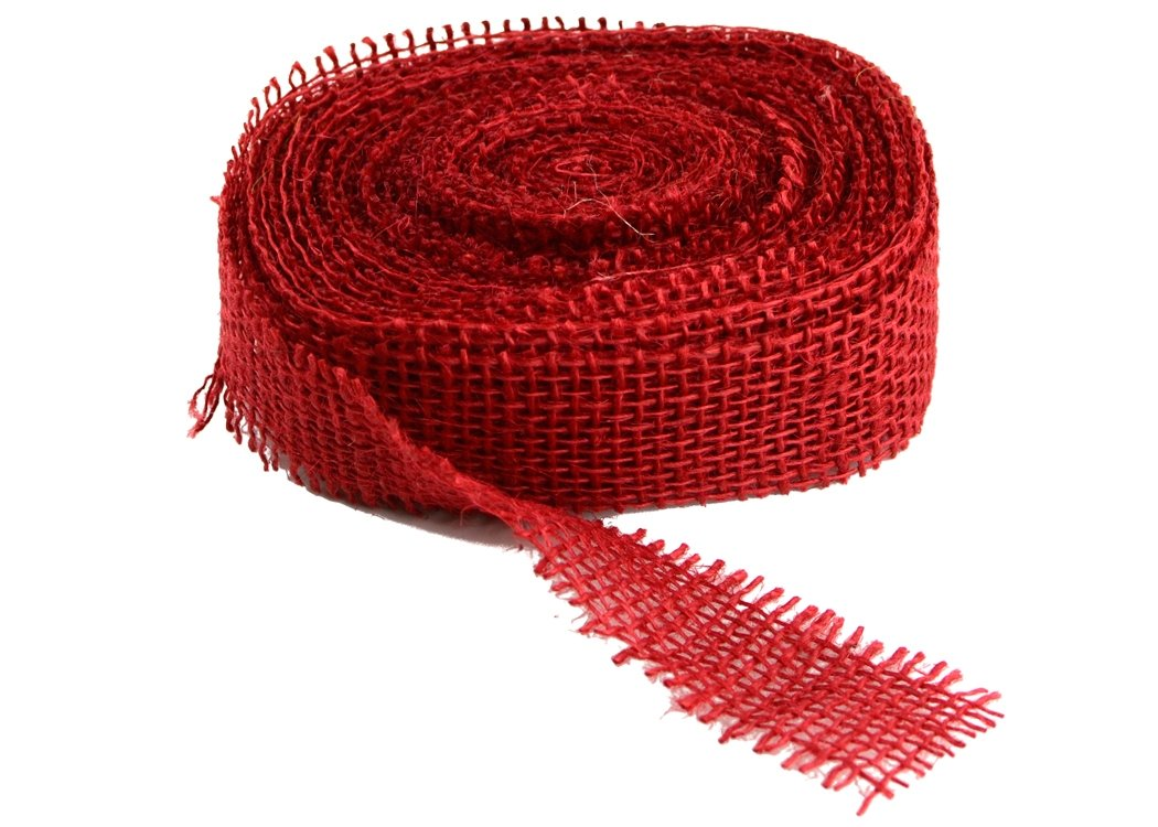 "Red Burlap Ribbon - 1.5"" x 10 Yards (Frayed Edges)"