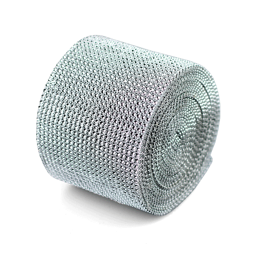 "Silver Diamond Mesh Wrap - 4.5"" x 30 Feet"