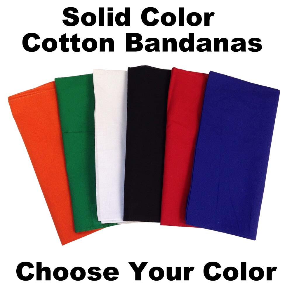 "Solid Color Assorted Bandanas 22"" x 22"" 12 PACK"