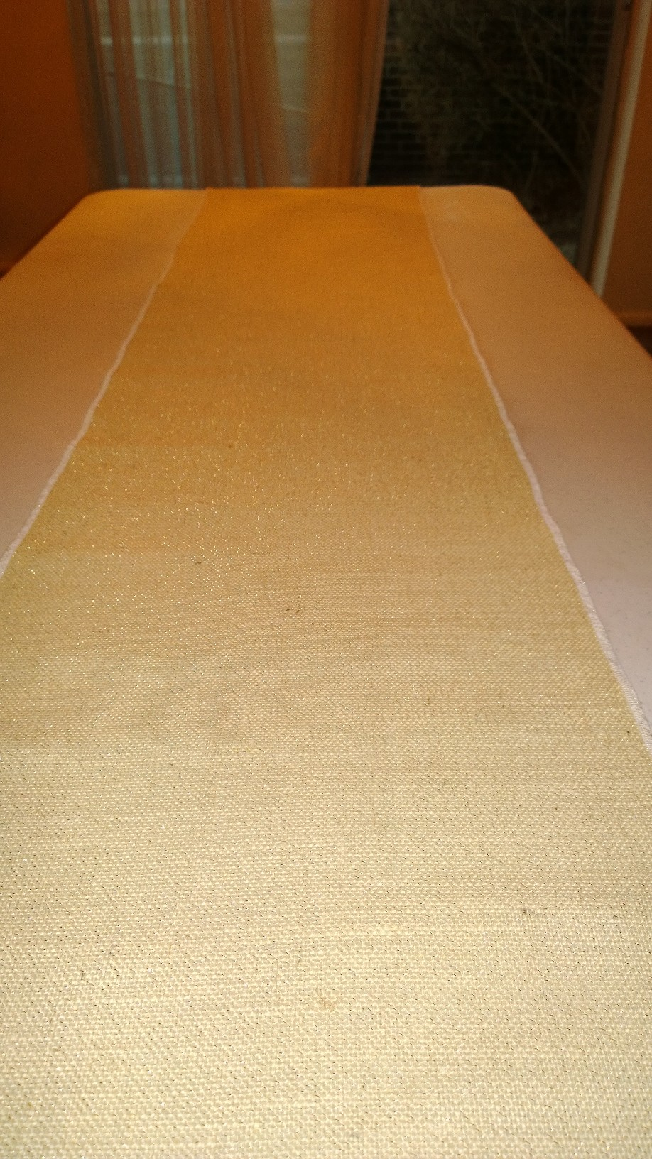 "Oyster Sparkle Burlap Table Runner - 14"" x 72"""