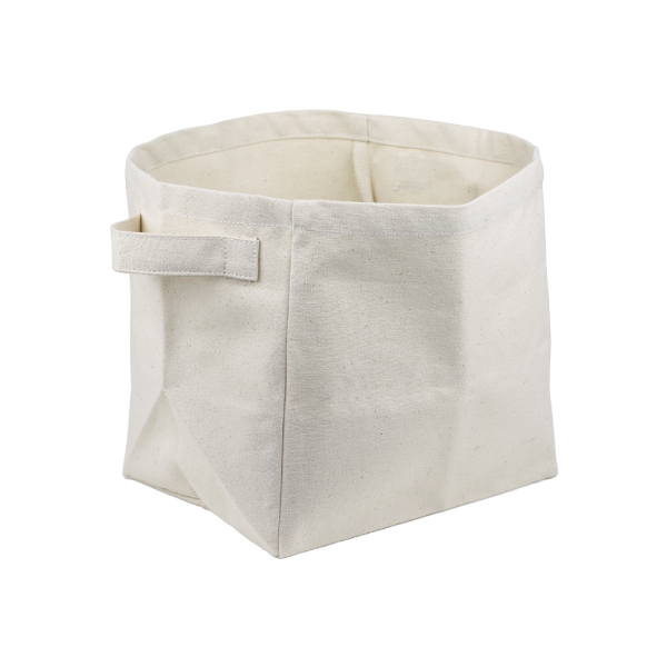 "9""x9""x7"" Canvas Storage Basket- Natural"