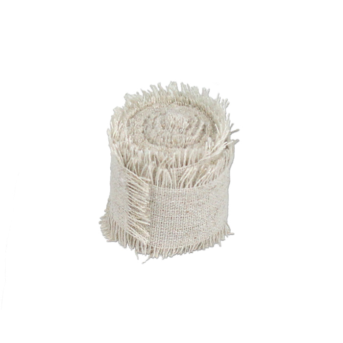 "Linen Ribbon with Fringed Edge - 1"" x 5 Yards"