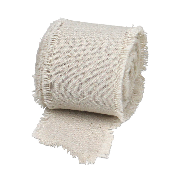 "Linen Ribbon with Fringed Edge - 2"" x 5 Yards"