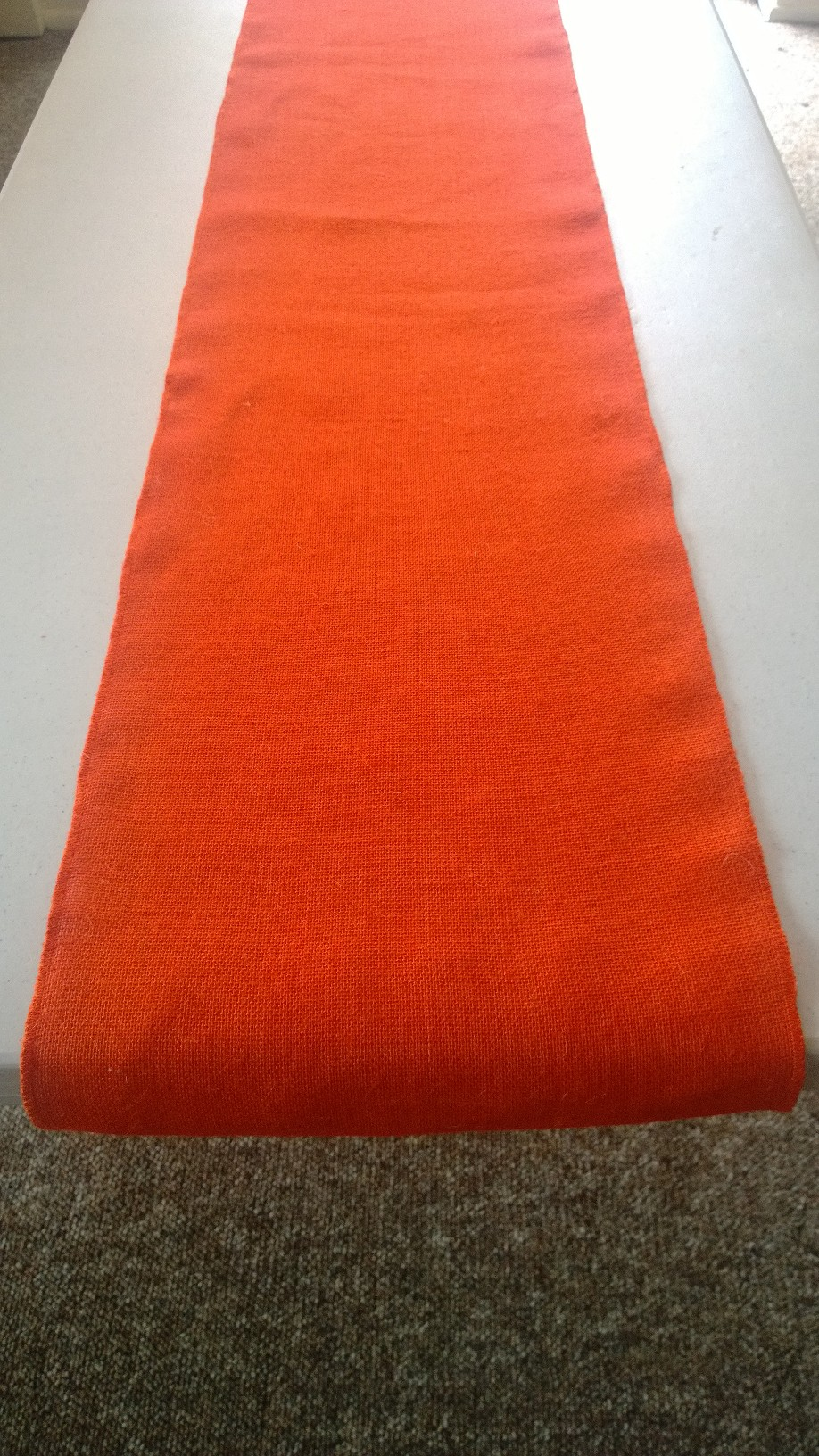 "Tangerine Burlap Table Runner (Sewn Edges) - 14"" x 90"""