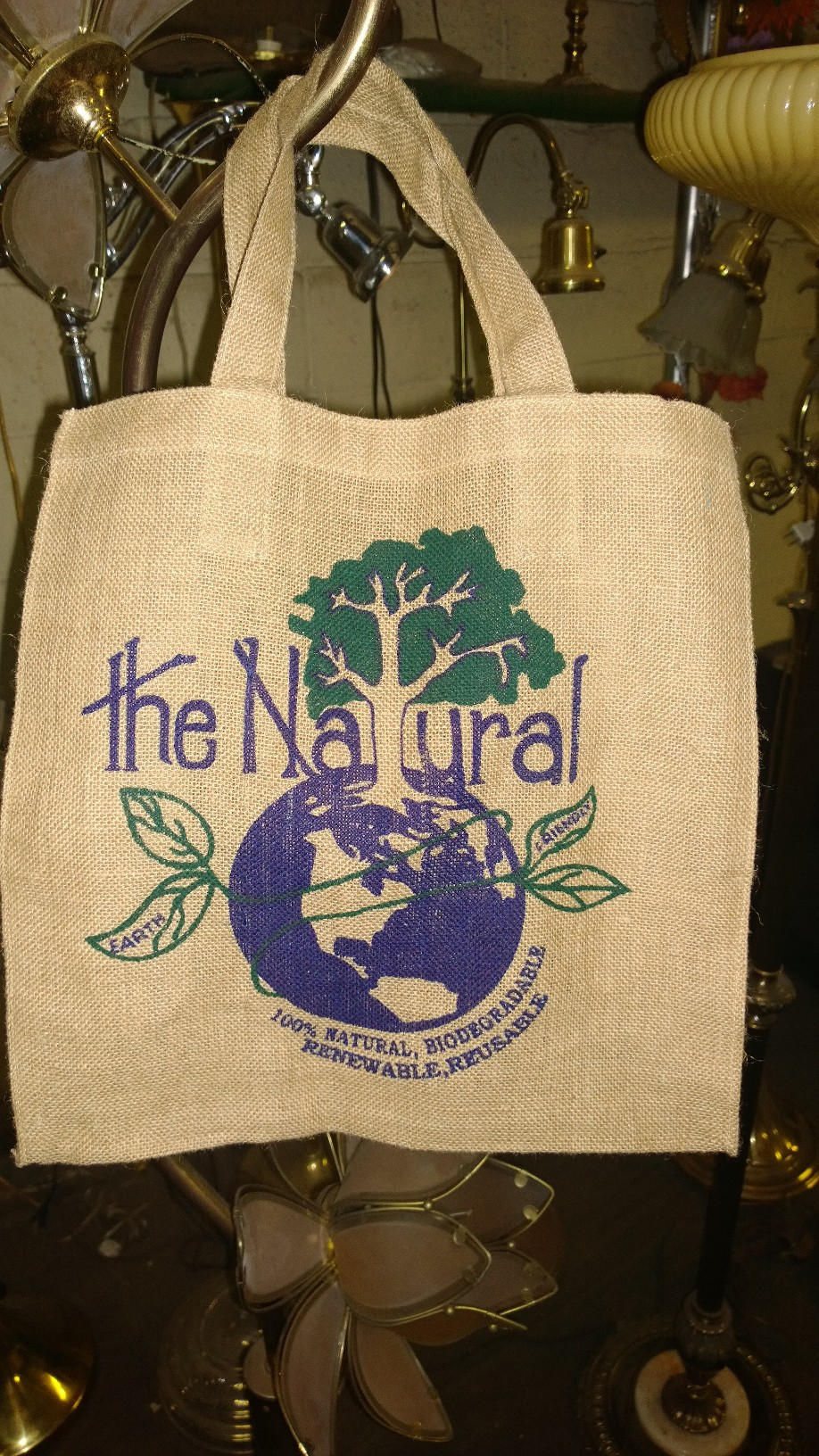 "Natural Jute Tote Bag - 15"" x 15"" x 6"" (Features Print)"