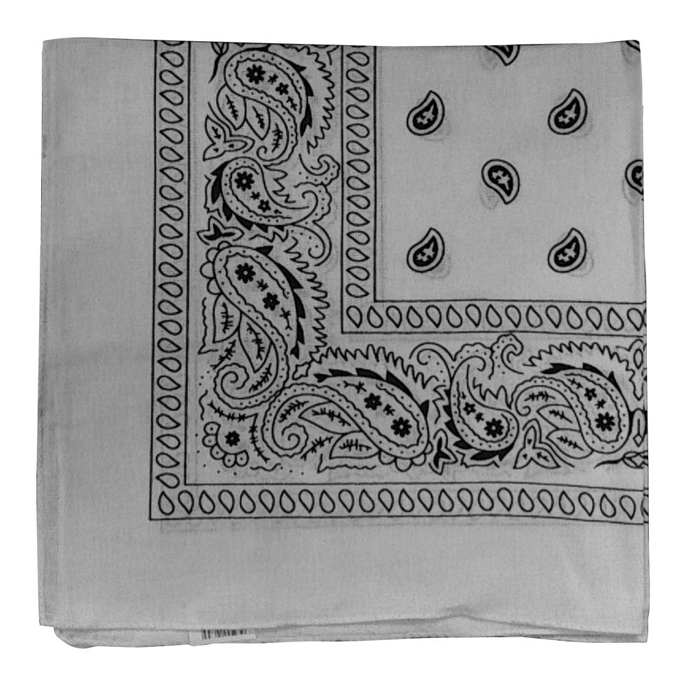 "Paisley Bandana (100% Cotton) - White 22"" x 22"""