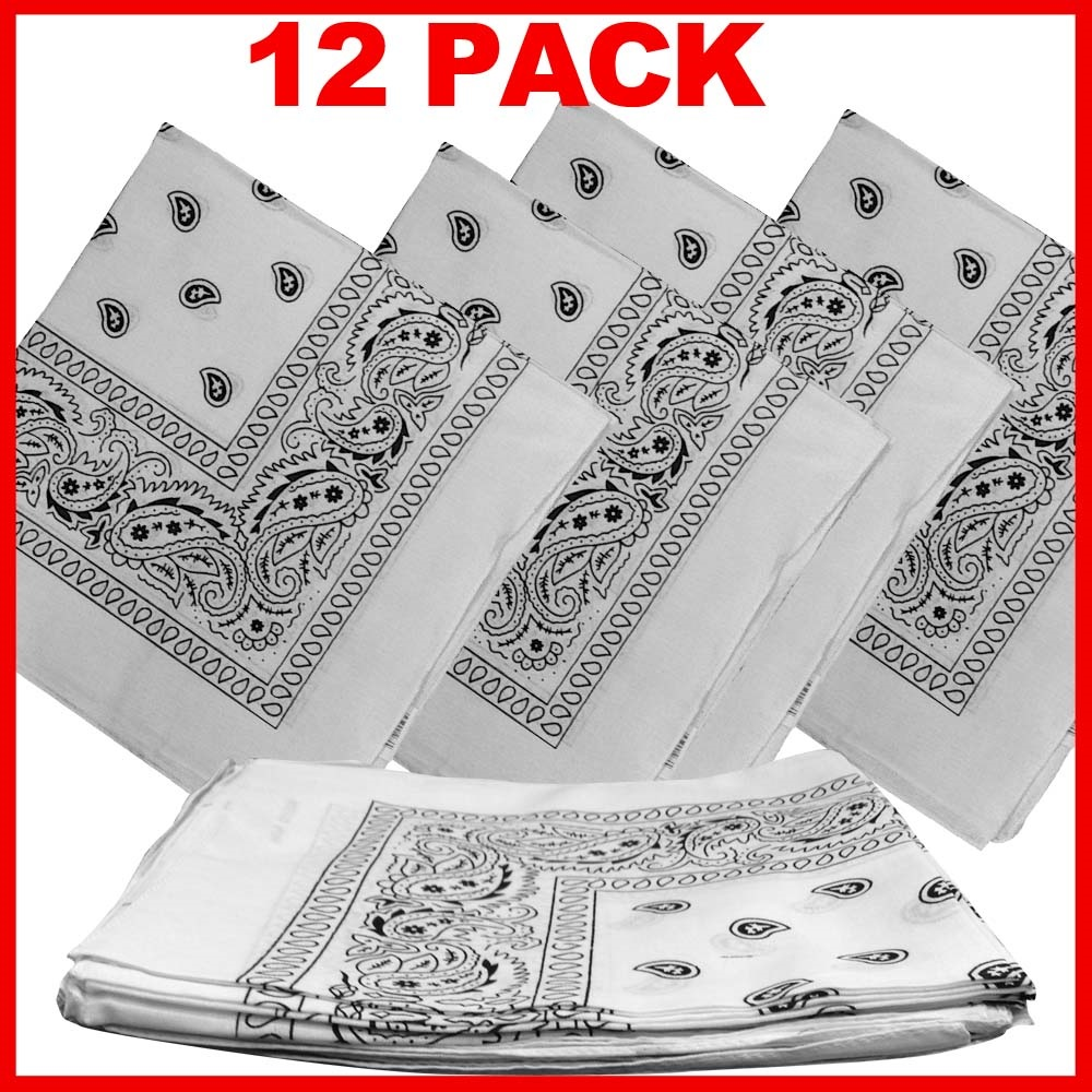 "Paisley Bandana (100% Cotton) -White 22"" x 22"" 12 Pack"