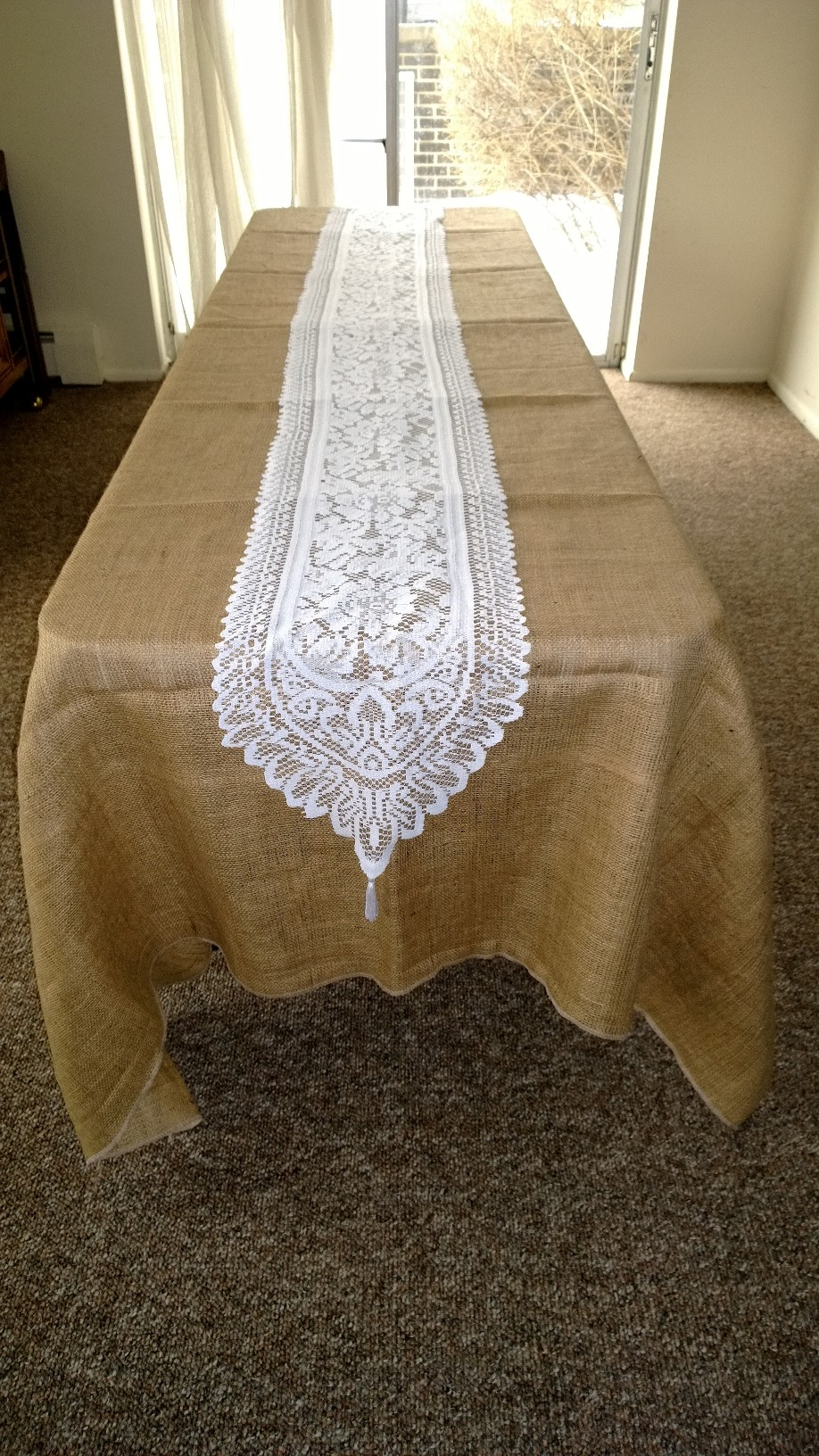 "White Lace Table Runner - 14"" x 108"""