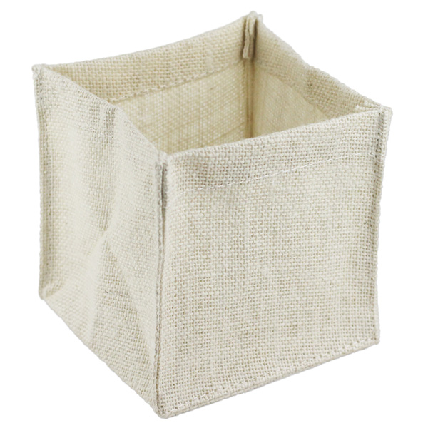 Burlap Vase Holder 5X5X5 White- (1 Dozen)