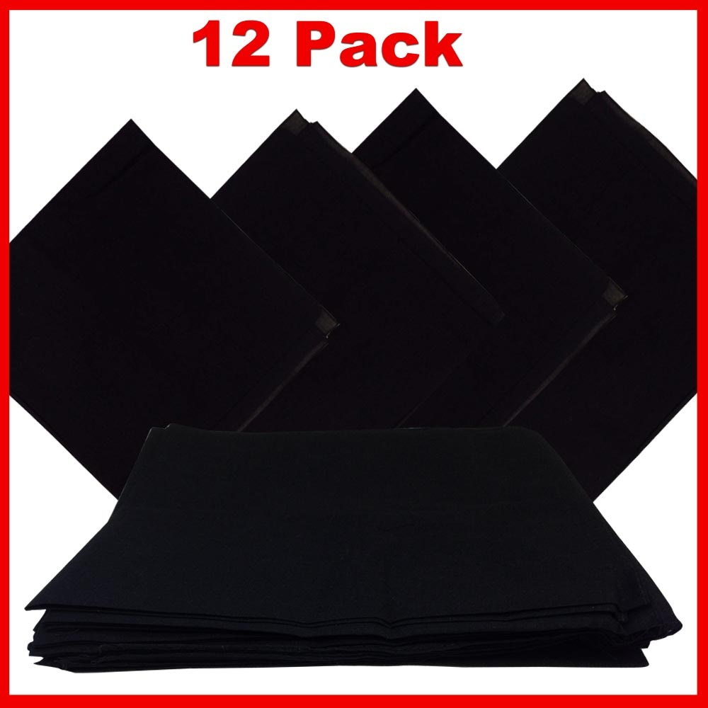 "Solid Color Bandana - Black 14"" x 14"" 12 PACK"