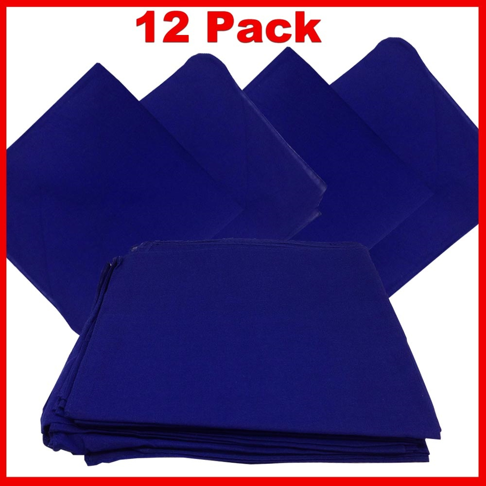 "Solid Color Bandana - Blue 27"" x 27"" 12 PACK"