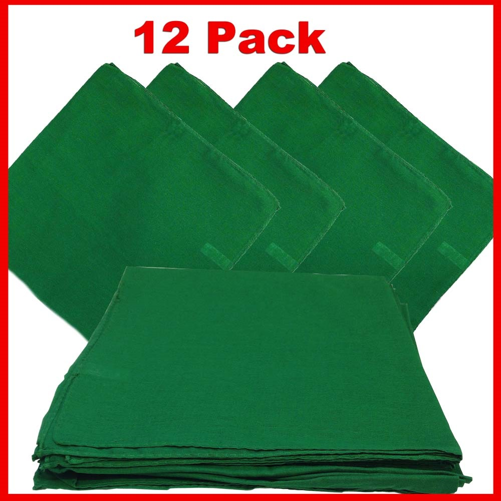 "Solid Color Bandana - Green 14"" x 14"" 12 PACK"