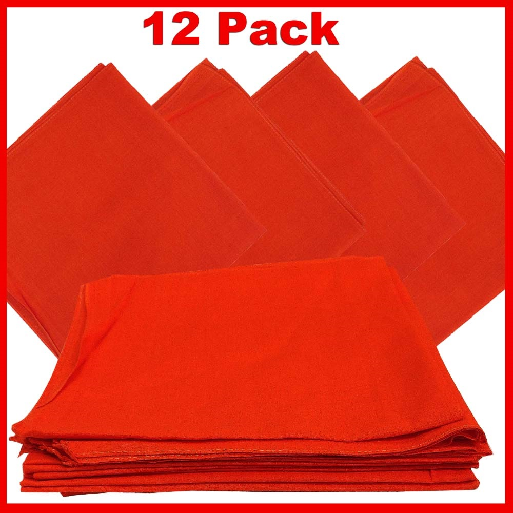 "Solid Color Bandana - Orange 14"" x 14"" 12 PACK"