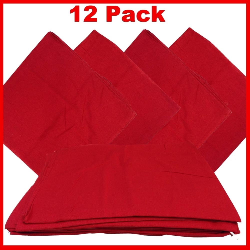 "Solid Color Bandana - Red 14"" x 14"" 12 PACK"