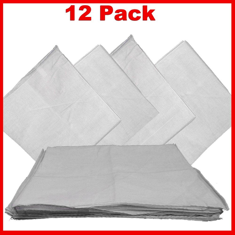 "Solid Color Bandana - White 14"" x 14"" 12 PACK"