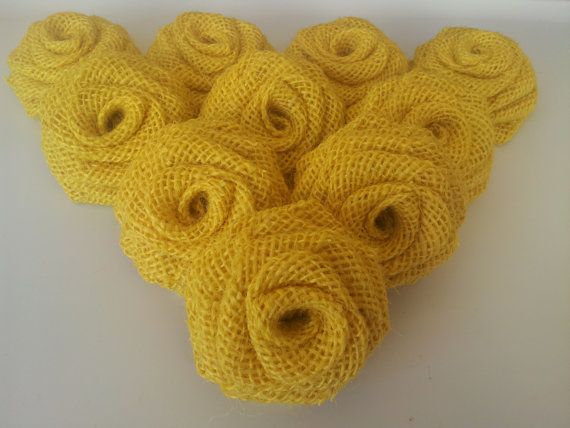 Dozen Burlap Flowers-Yellow