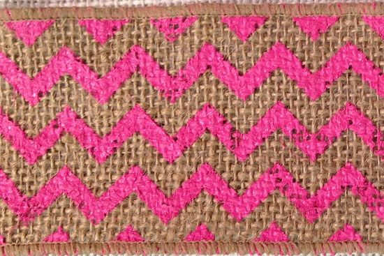 Chevron Burlap Ribbon 2.5 Hot Pink/Natural 10 yds