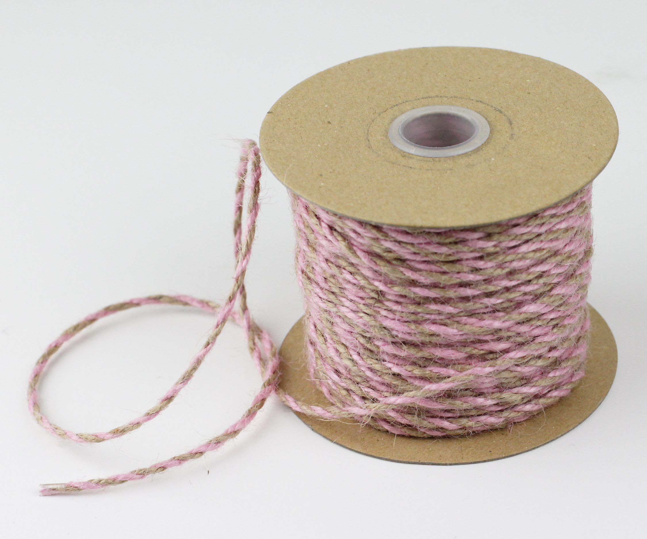 Pink/Natural Jute Twine - 2.5mm x 50 Yards