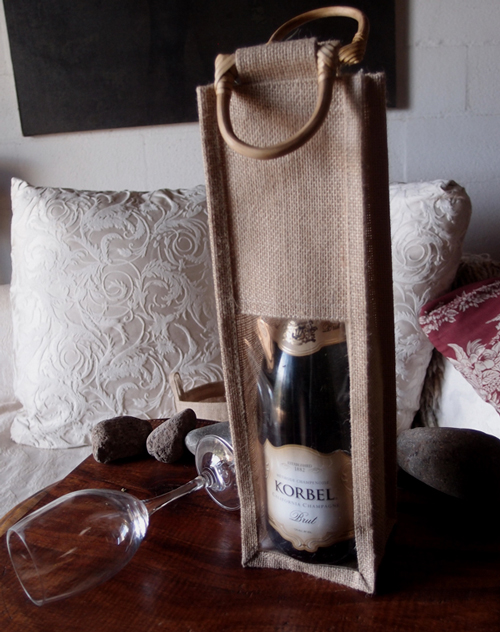 "Natural Burlap Wine Bag with Clear Window - 4"" x 4"" x14"