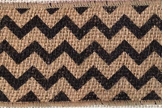 Chevron Burlap Ribbon 2.5 Black/Natural 10 yds