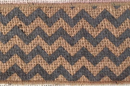 "4"" Chevron Burlap Ribbon 10 Yds Dark Gray/Natural"