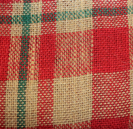 "Red/Green Plaid Sparkle Burlap - 60"" x 15 Yards"
